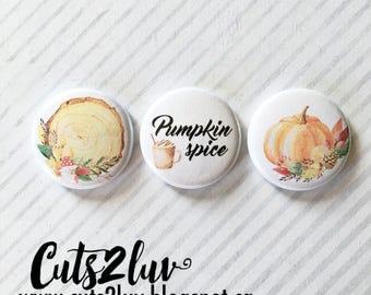 """3 buttons 1 """"Pumpkin spice"""