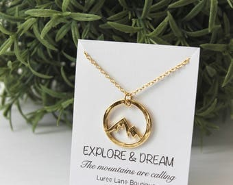 Mountain necklace/ Mountain pendant/ Mountain jewelry/ Friendship necklace/ Birthday necklace/ Inspirational necklace/ Nature necklace