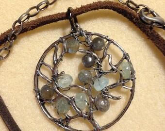 Labradorite tree antique silver tone focal pendant
