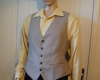 Men's vintage light brown vest. 1940s style
