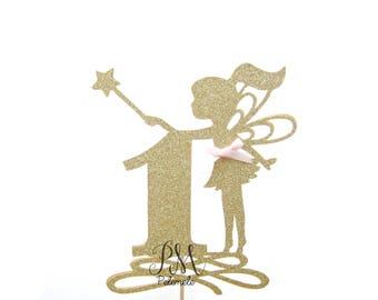 Custom Number Glitter Fairy Cake Topper - Custom Cake Topper, Fairy Glitter Cake Topper, Fairy Topper, Birthday, Fairy Party, Fairy Birthday