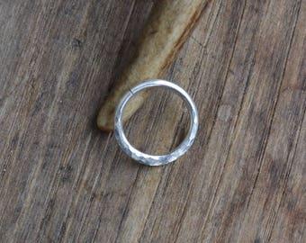Hammered septum nose ring, sterling septum ring, sterling silver septum ring, 16 gauge septum ring, sterling nose hoop, textured nose ring