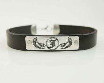 Mens leather bracelet. Personalized bracelet. monogram silver bracelet. Personalized jewelry. initial bracelet. Unisex bracelet.
