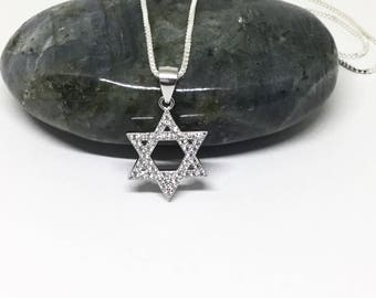 Star of David Necklace Sterling Silver Star David CZ Pendant Magen David Jewish Star on a Sterling Silver Chain