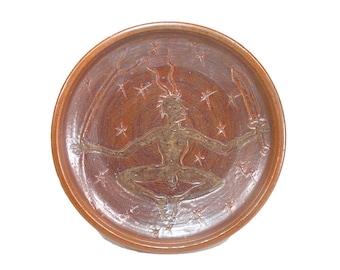 Horned God Pottery Ritual Offering Bowl Herne Altar Cakes Plate