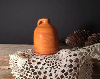NEW**Handcrafted Miniature earthenware clay pottery jug in Halloween orange!
