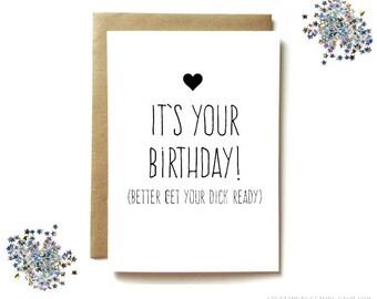 boyfriend birthday card, husband birthday card, sexy birthday card for boyfriend, dirty birthday card for husband - get your dick ready