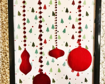 Red Christmas Ornaments Wall Hanging
