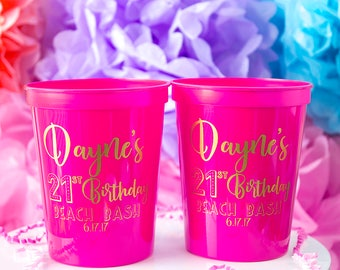 21st Birthday Favor, Birthday Party Cups, Party Favor Cups, Birthday Gift, Custom Plastic Party Cups, Stadium Cups, Custom Party Cups