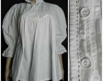 70s white cotton eyelet babydoll blouse poet high neck collar pintucked smocked blouse three quarter length puff sleeves U.K. 10 - 12 S M