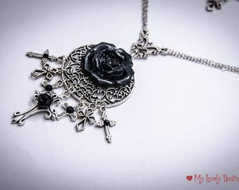 bury me with rose - long gothic necklace - black cross - black rose - modern gothic witch