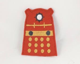 Red Dalek-Dalek- Finger Puppet - Doctor Who Inspired Finger Puppets - Christmas gift - Stocking Stuffer - Embroidered Felt Finger Puppet