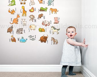 Alphabet Wall Decal, Playroom Wall Decal, Nursery Wall Decal, Alphabet Decal, Animal Wall Decals, Nursery Wall Art, Alphabet Art - 01-0038