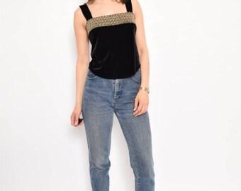 Vintage 90's Black Velvet Sleeveless Top - Size Medium