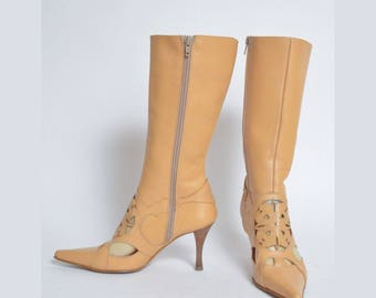 Vintage 90's Tan Light Brown High Heel Zipper Boots with See Through Cut Out Design
