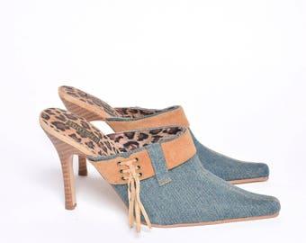 Vintage 90's Blue Denim Slipper Sandal Heels with Side Tassels and Leopard Print
