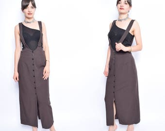 Vintage 90's Plaid Brown Overall Skirt / Brown Maxi Overall Button Skirt - Size Medium