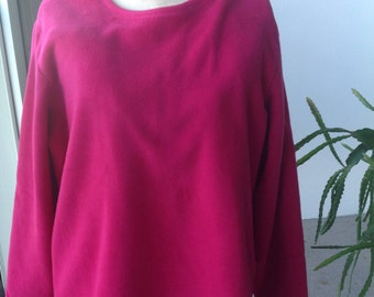 Lands' End 2X. 20W-22W.  Unique sweatshirt.  Deep pink tunic style pullover. Fleece?