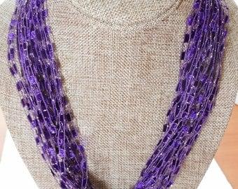 Purple Trellis Scarf Necklace with Silver Metallic  (SKU 127)