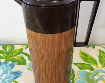 Vintage Aladdin Beverage Butler Thermos Pitcher - Retro Faux Wood Pitcher Thermos