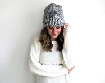 Hat Knit Slouchy Beanie Grey- Hartford Hat