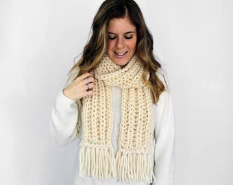 Knitted Scarf, Chunky Knit Scarves Fringe Fisherman