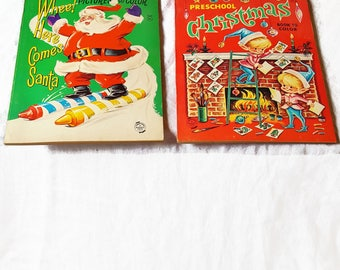 2 Unused 1960s Christmas Coloring Books
