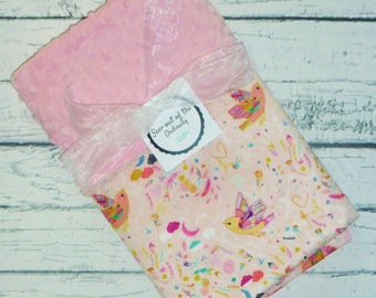 Personalized Minky Baby Blanket, Designer Minky Blanket, Floral, Hearts and Birds Baby Blanket, Blush