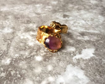 Raw Amethyst Gold Ring - Crystal Ring - Healing Stone Jewelry