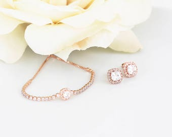 Rose Gold Wedding Jewelry   Bridesmaid Gifts   Bridesmaid Jewelry   Bridal Jewelry Sets   Personalized Gifts   Wedding Jewelry   Weddings