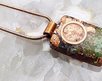 Powerful Orgone Pendant - Moss Agate/Peridot - FREE WORLDWIDE SHIPPING!