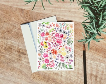 Peony Watercolor Floral Card - single folded card