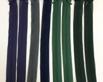 Set of 8 20 assorted colors - Lot 13 cm invisible zipper closures