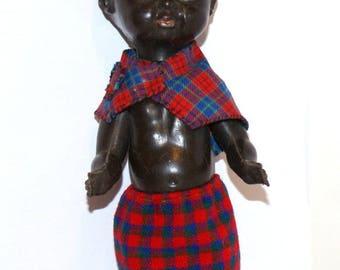 Vintage Collectible Doll -  hard plastic black doll, creepy doll