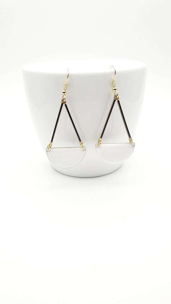 White Enamel earrings//Long geometric semi circle gold steel closures dangles//White Black Gold graphic enamel Hypoallergenic earrings