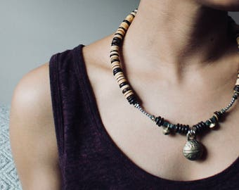 Handmade Necklace with Tibetan Bell & Reclaimed Wood Beads
