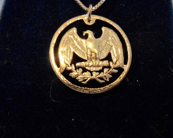 Washington quarter eagle  necklace w/sterling silver chain