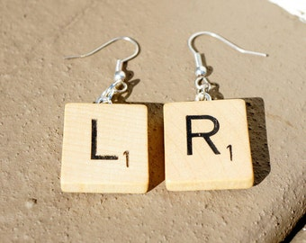 Scrabble Letter Earrings Dangle | Any 2 Letters | Gift for Teachers, Librarians, Book Lovers, Birthdays, Weddings, or Bookworms