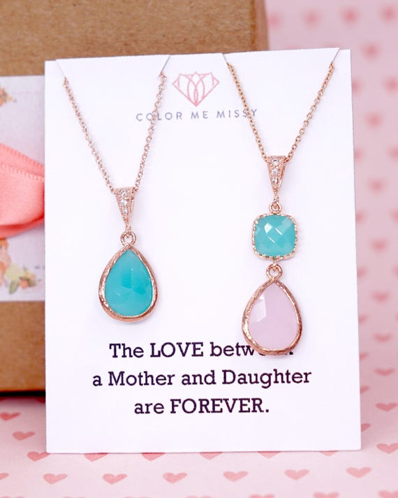 Mother & Daughter | Mint Pink teardrop cushion Rose Gold Necklace| Brides Bridesmaid Blush Jewelry Wedding | Gifts for her N220