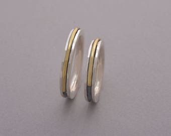 Couples Wedding Band Set, Silver and Gold Wedding Rings, 3.5mm Width His and Hers Wedding Band Rings, Unique Promise Rings, BE103