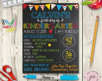 First Day of School Boys Chalkboard Sign, Back To School Signs, Printable Photo Prop, First Day Of School Signs