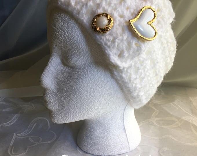Big White Crocheted Headband-Womens Earwarmers -READY TO SHIP-Heart accessories -Christmas  gift ideas-Fall Hairband-Gold jewelry