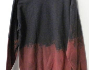 Gray Acid Wash Sweatshirt, crewneck sweatshirt, Dip dye, acid wash, sweater, crew neck, Boho, Boho Chic, Rocker, hippie, tie dye