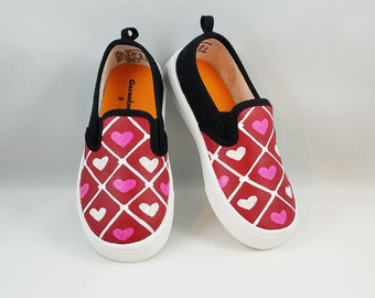 HAND PAINTED Valentines Shoes, Heart Shoes, Baby/Toddler, Child/Youth,