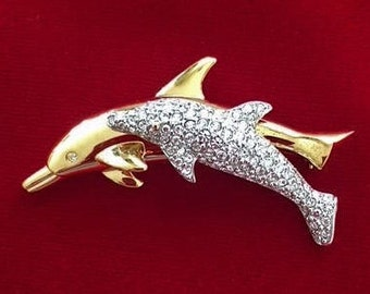 Vintage Fashion Jewerly Two Dolphins Lapel Pin