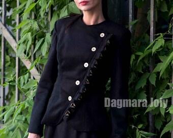Womens black jacket, womens blazer, assymetrical jacket, womens suit, military jacket, suit black jacket, office wear, business clothing