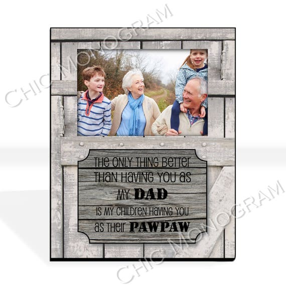 Christmas Gift for Dad New Grandfather Gift Grandpa New Grandparent Gift Custom Photo Frame Picture Frame Rustic Wood Look 8 x 10 w/ 4 x 6