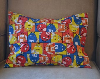 Travel Pillow Case / Child Pillow Case of M & M's CANDY