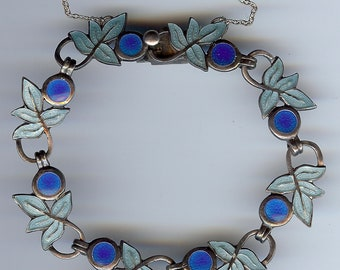 MARGOT DE TAXCO vintage Mexico sterling silver blue enamel leaves bracelet
