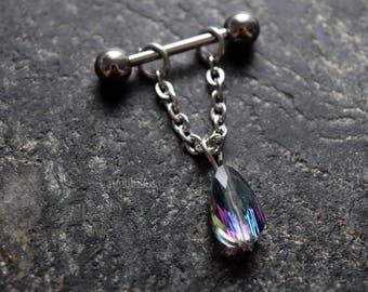 Single Sparkly AB Teardrop Crystal 14g (1.6mm) 16g (1.2mm) 18g (1mm) Cartilage Ear Cuff Barbell Piercing Jewelry Stud Dangle Pear